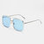 Unisex Retro Flat Mirror Square Large Frame Transparent Anti-UV Sunglasses For Woman