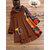 Plus Size Vintage Printed Patchwork Irregular Hooded Blouse