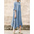 Women Solid O-neck Side Split Casual Dress
