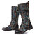 SOCOFY Gorgeous Flowers Pattern Colorful Stitching Elegant Zipper Lace Up Flat Mid-calf Boots