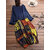 Ethnic Floral Print Two Pieces Long Maxi Dress For Women