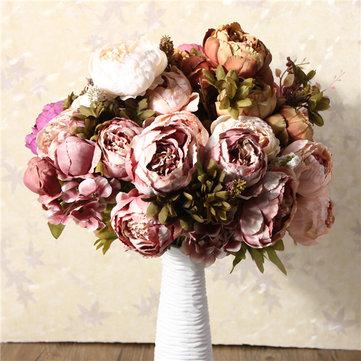 Flores de Seda Ramo de Peonía Artificial Decoración de Casa Habitación Fiesta Boda Jartín