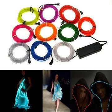 4m 10 cores 3v néon flexível el luz fio dança decoração do partido luz