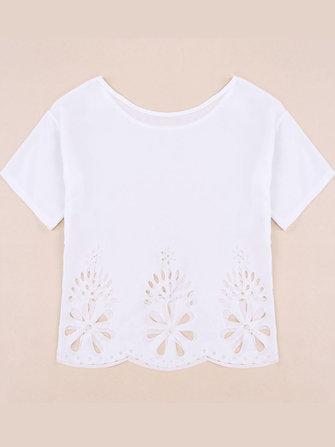 महिला आरामदायक सफेद लघु आस्तीन पुष्प खोखले हेम लूज शिफॉन टी शर्ट ब्लाउज