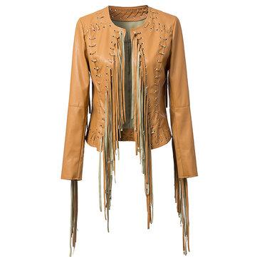 Punk Style Women Metal Eyelet Tassel Faux Leather Jacket