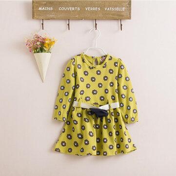 बेबी चिल्ड्रन गर्ल्स राजकुमारी स्पॉट्स ड्रेस फ्लॉवर बेल्ट स्कर्ट