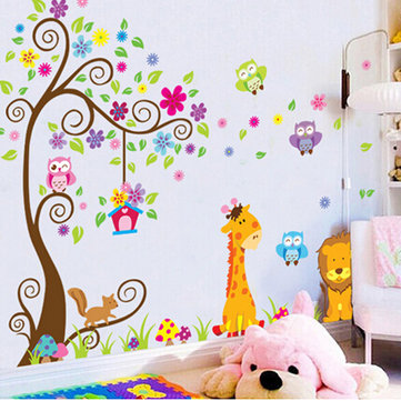 Owl Lion Tree Wall Stickers Removable Wallpaper Tecknad Barn Rooms Decor