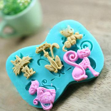 3D Silicone Cat Shape Bánh Khuôn fondant Bánh trang trí