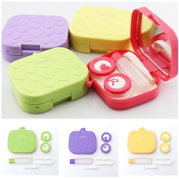 4 Colors Contact Lens Care Holder Case Tweezers Mirror Lenses Storage Box