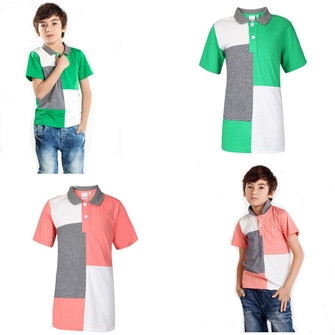 Sommarbarn Boy Bomull Kontrastfärg Pikétröja T-shirt