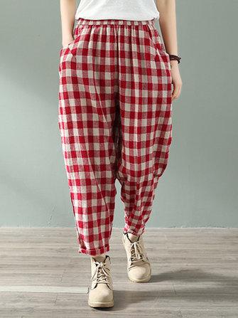 Women Casual Plaid Elastic Waist Side Pockets Harlan Pants