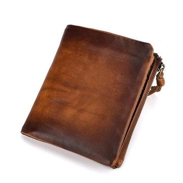 メンズオイルワックス本革レザーヴィンテージダブルコインバッグ財布