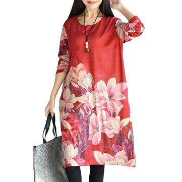 Elegant Women O-Neck Long Sleeve Flower Printed Knee-Length Dress