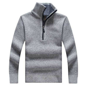 Winter Mens Warm Thickened Sweaters Zipper Pullovers Stand Collar Casual Knitwear Sweater