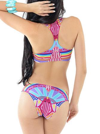 महिला सेक्सी विंटेज वेस्ट टॉप्स बीचवियर वायरलेस रंगीन प्रिंटिंग बिकिनिस