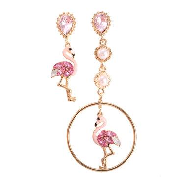Moda Asimetría Azul Rosa Flamingo Dangle Pendientes Crystal Drop Pearl Pendiente de Regalo para Mujer