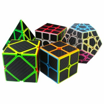 5Pcs per Scatola Fibra di carbonio Magia Cube Pyraminx Dodecahedron Axis Cube 2x2 E 3x3 Cube Speed Puzzle