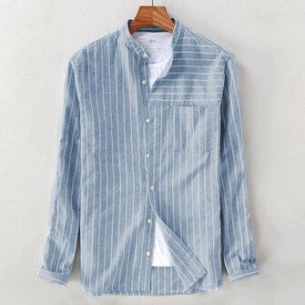 Mens Vintage Bomull Andas Striped Loose Comfy Long Sleeve Casual Skjortor