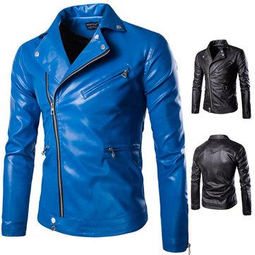 Mens Fall Winter Motorcycle PU Leather Stylish Fashion Jacket Locomotives Modern Coat