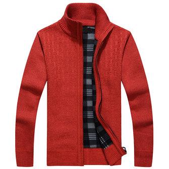 पुरुषों मोटी आरामदायक Zippered बुना स्वेटर स्टैंड कॉलर ठोस रंग Cardigan स्वेटर