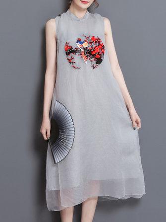 Vintage Gri Kolsuz Nakış Kadın Orta Uzun Elbise