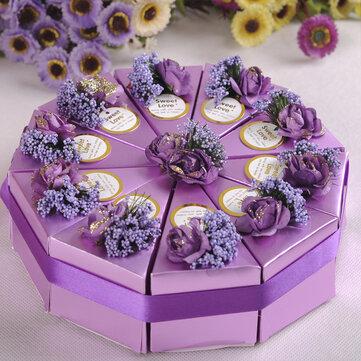 Cajas de regalo de chocolate dulce 10pcs regalo de la torta del caramelo caja de la boda de la torta del partido