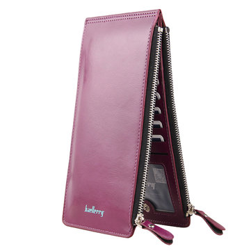 Women Waxy Ultra Thin Leather Long Purse Elegant Card Multi Card Holder Phone Wallet Coin Bags