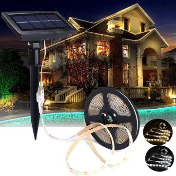 5M SMD2835 Waterproof Solar Powered LED Strip Light for Christmas Outdoor Garden Decor DC12V