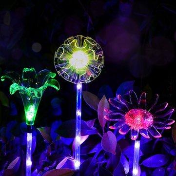 ARILUX® Năng lượng mặt trời thay đổi nhiều màu LED Hoa Stake Light Trong suốt Chụp đèn cực