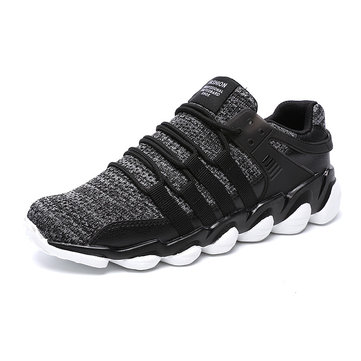 Men's  Breathable Ankle Sneakers Stretchy Weave Knit Non-slip Comfy Running Walking Shoes