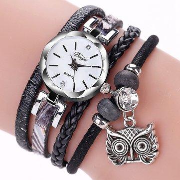 DUOYA Orologio sveglio delle donne di modo della vigilanza del braccialetto delle signore del pendente del gufo di stile