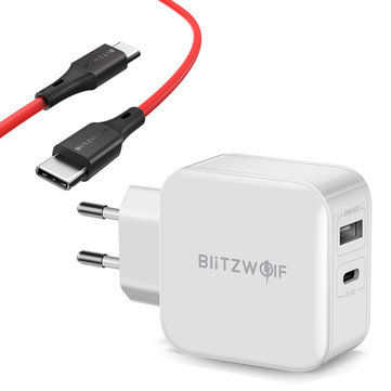 BlitzWolf BW-S11 30W Type-C PD/QC3.0+2.4A Dual USB Charger EU Adapter + BW-TC17 3A USB PD Type-C to Type-C Charging Data Cable 3ft/0.9m