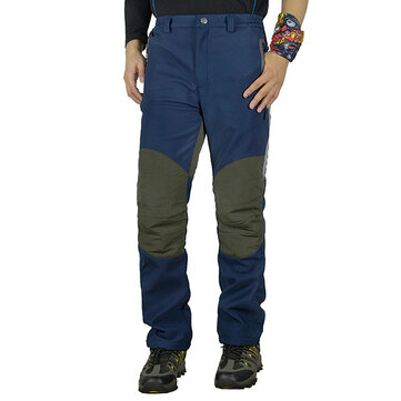 Autumn Winter Outdoor Water-repellent Splicing Warm Soft Shell Pants Men's Leisure Thick Hiking Pant