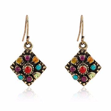 Bohemian Colorful Diamond Ear Drop Square Alloy Rhinestone Earring For Women