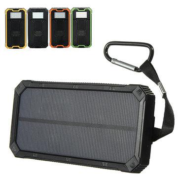 8000mAh सौर जलरोधक पोर्टेबल चार्जर दोहरी USB बैटरी पावर बैंक