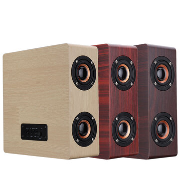 Wooden bluetooth 4.2 Wireless Speaker 4 Loudspeaker HiFi Wireless Music Player With TF AUX  Port