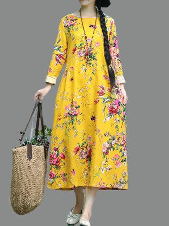 レトロな女性のフォークスタイルの花柄のプリント長袖のOネックのドレス