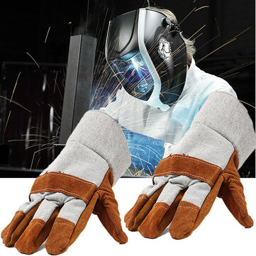 Welding Gloves Welders Work Soft Cowhide Leather Plus Gloves for Protecting Hand