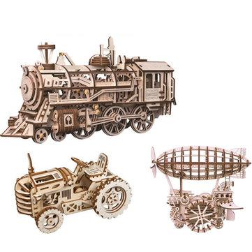 ROBOTIME VAPORE fai da te in legno giocattolo robot giocattolo a vapore dirigibile trattore fuori strada giocattolo educativo regalo