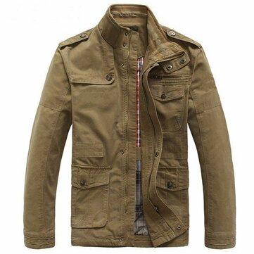 Big Size Men Outdoor Cotton Blend Multi Pockets Zipper Cargo Coat Jacket Outwear