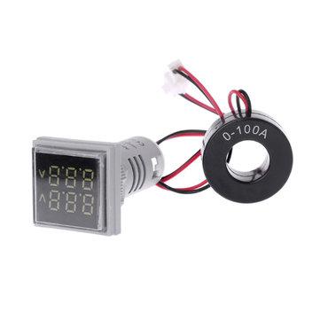 5pcs White Light AC 60-500V 0-100A D18 Square LED Digital Dual Display Voltmeter Ammeter Voltage Gauge Current Meter