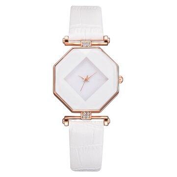 Fahion Diamond Mirror Watch Ladies Dress Ultra-thin Leather Women Quartz Watch