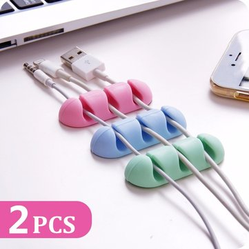 Bakeey™ 2PCS TPU Cable Clips Cable Holder Desktop Cable Organizer Cord Management Headphone Holder
