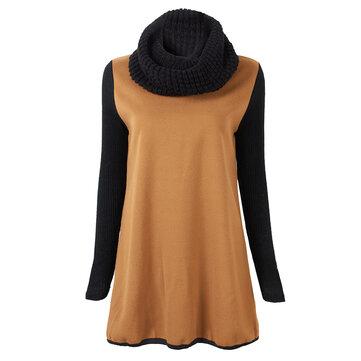 अनौपचारिक महिला बुना हुआ पैचवर्क गर्दन के साथ ऊनी स्वेटरशॉट