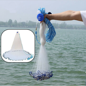 8ft Quick Throw Cast Net Monofilament Fishing Live Bait Net With Sinkers