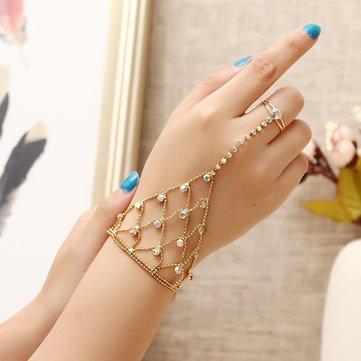 JASSY® 18K Gold Plated Colorful Rhinestone Palm Bracelet With Ring Fashion Anallergic Women Jewelry