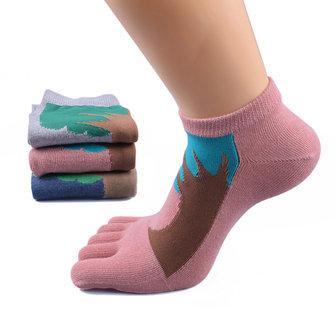 महिला Jacquard पैर की अंगुली मोजे ग्रीष्मकालीन कपास खेल आरामदायक सांस लेने योग्य डिओडोरेंट बेरी नाव म