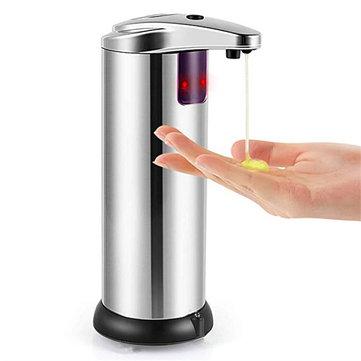 250ml Otomatis Chrome Kamar Mandi Kitchen Liquid Soap Dispenser Tanpa Sentuhan Tangan Gratis
