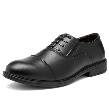 Men Comfy Casual Business Elastic Band PU Leather Slip On Formal Shoes