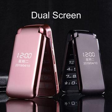 VAJITA GS55 2.8 inch 3200mAh Dual Display Large Button Torch Dual Sim Dual Standby Flip Feature Phone Pink